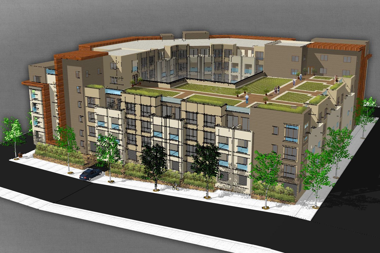 Ktgy designed 29 million mixed use senior housing for Senior housing building plans